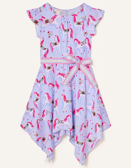 Floral Unicorn Hanky Hem Dress, Purple (LILAC), large