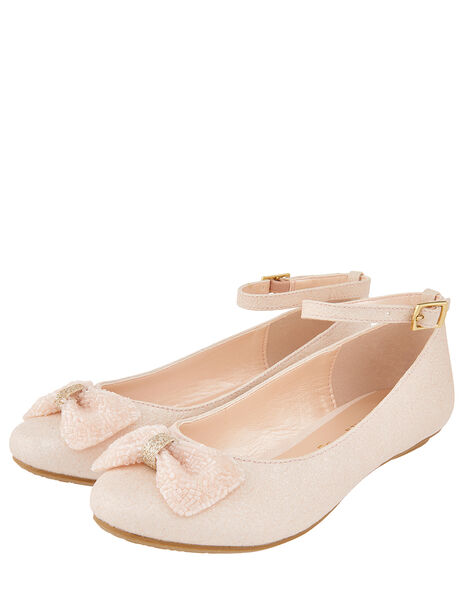 Megan Shimmer Ballerina Shoes with Beaded Bow Pink, Pink (PALE PINK), large
