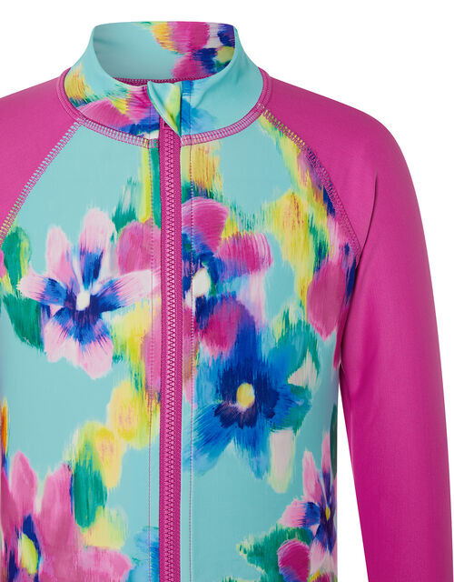 Blurred Floral Sunsafe Top, Blue (TURQUOISE), large