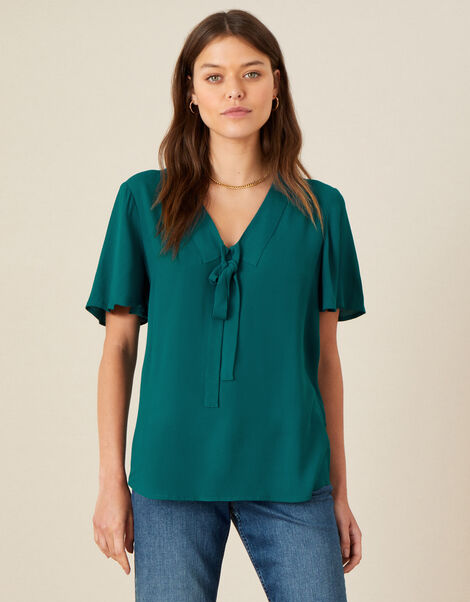 Tie Front Frill Sleeve Top Green, Green (GREEN), large