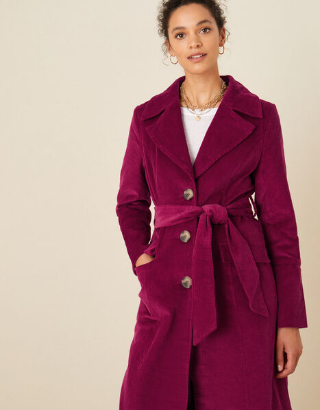 Connie Cord Trench Coat Red, Red (BERRY), large