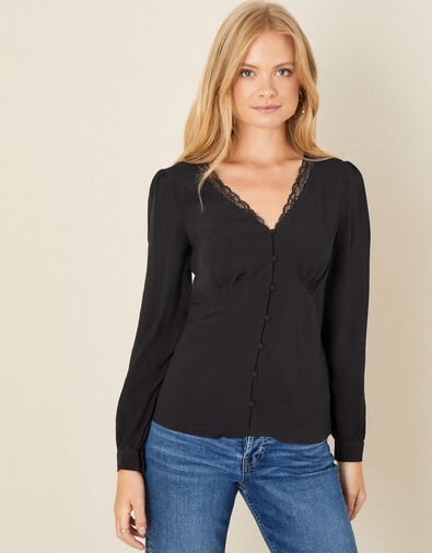 Lace Trim Long Sleeve Blouse Black, Black (BLACK), large