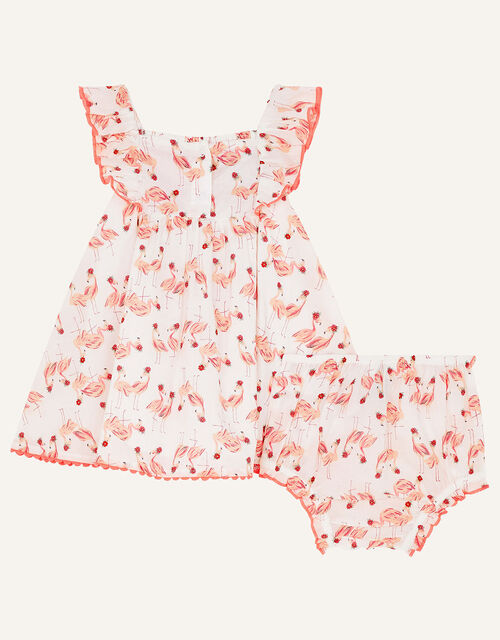 Newborn Flamingo Dress and Briefs Set, White (WHITE), large