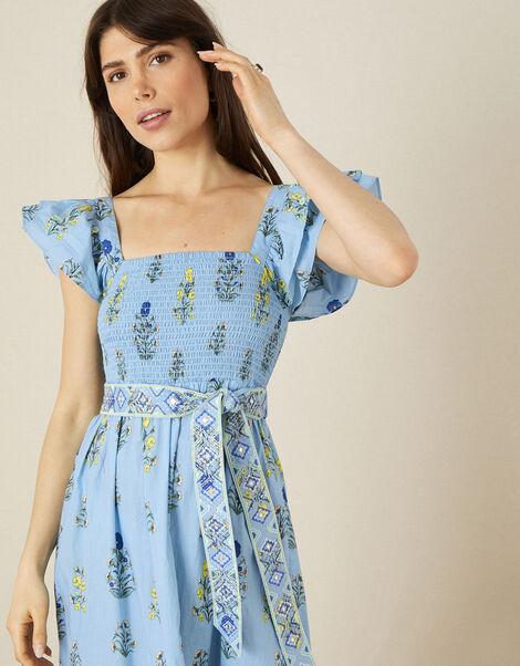 Floral Frill Sleeve Midi Dress Blue, Blue (BLUE), large