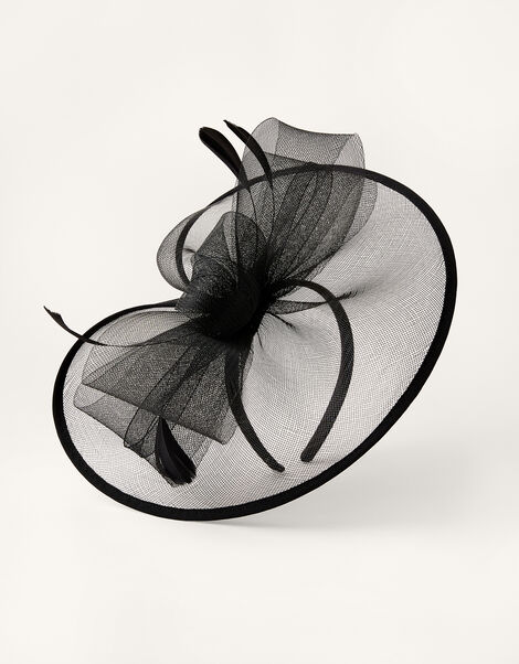 Crin Disc Fascinator Headband Black, Black (BLACK), large