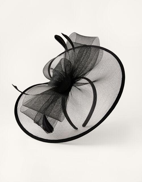 Crin Disc Fascinator Headband, Black (BLACK), large