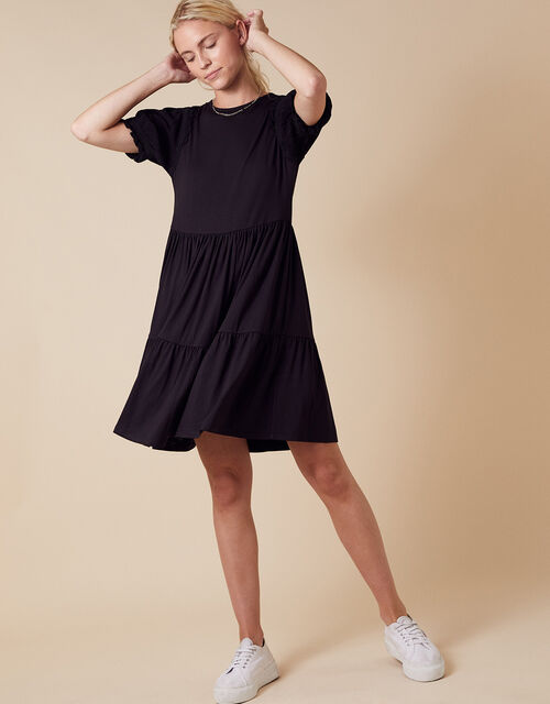 Woven Sleeve Jersey Smock Dress with LENZING™ ECOVERO™, Black (BLACK), large