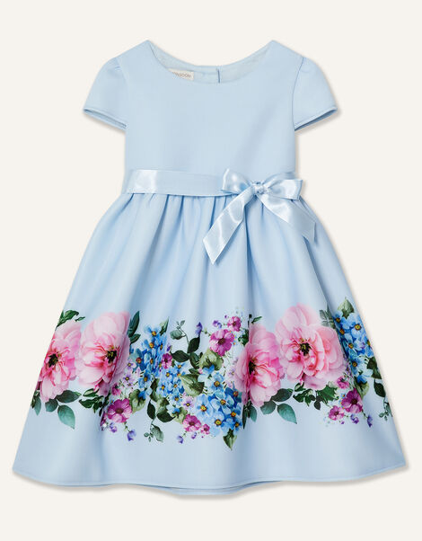 Baby Border Print Scuba Dress Blue, Blue (BLUE), large