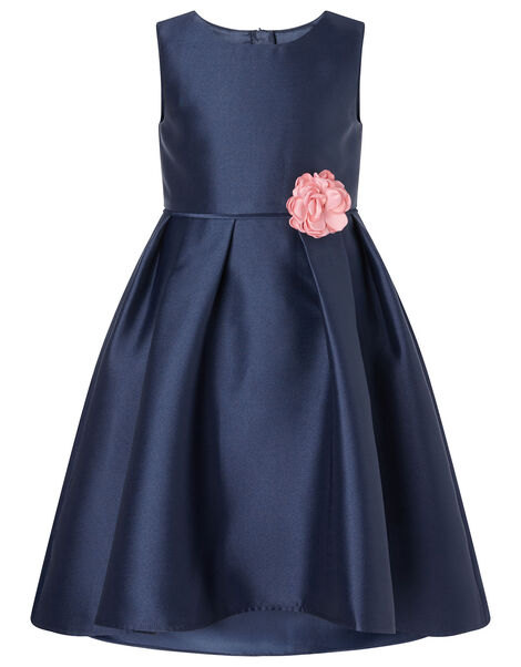 Corsage Belt Hi-Low Dress Blue, Blue (NAVY), large