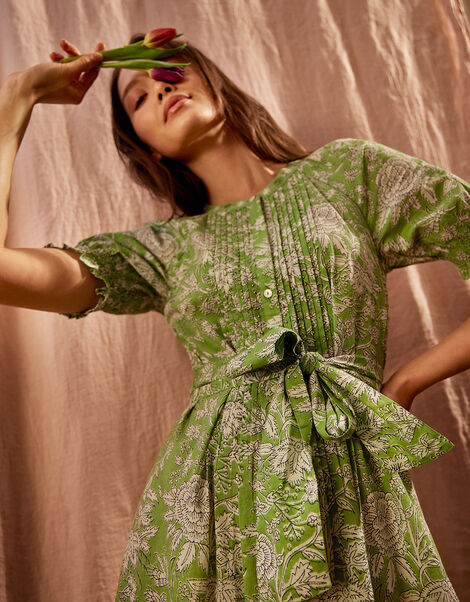 ARTISAN STUDIO Floral Belted Dress Green, Green (GREEN), large