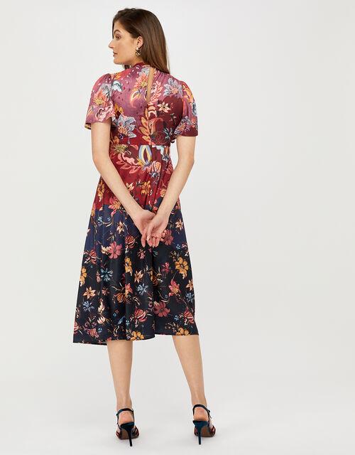 Laura Printed Satin Midi Tea Dress, Blue (NAVY), large