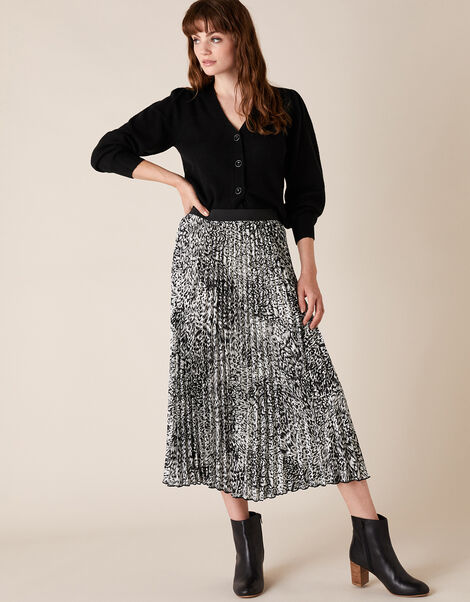 Animal Print Pleated Midi Skirt Black, Black (BLACK), large