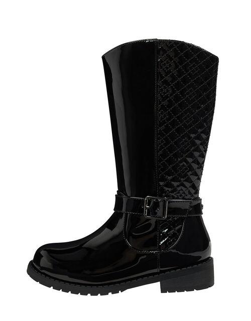 Bernadette Buckle Riding Boots, Black (BLACK), large