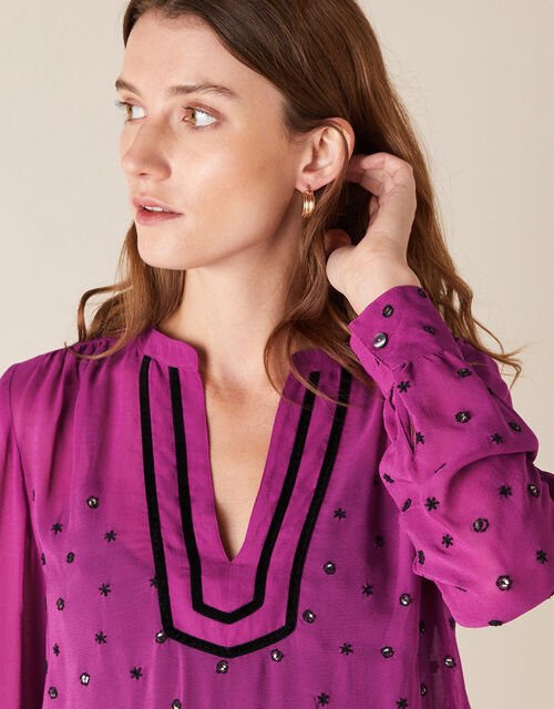 Embroidered Sequin Blouse in Sustainable Viscose, Pink (PINK), large