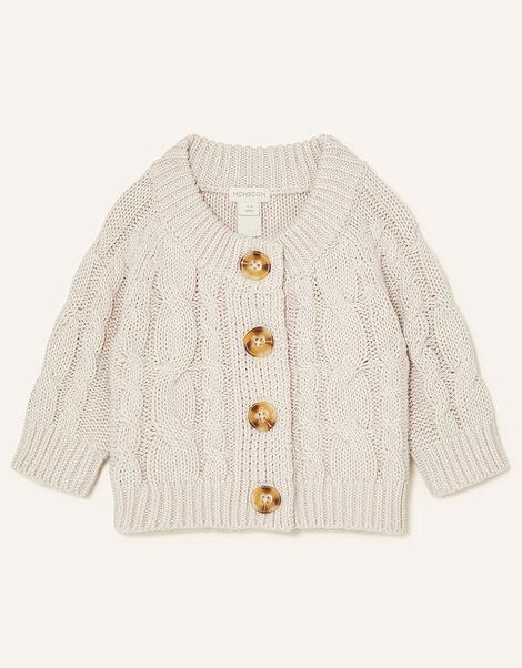 Newborn Cable Knit Cardigan Cream, Cream (CREAM), large