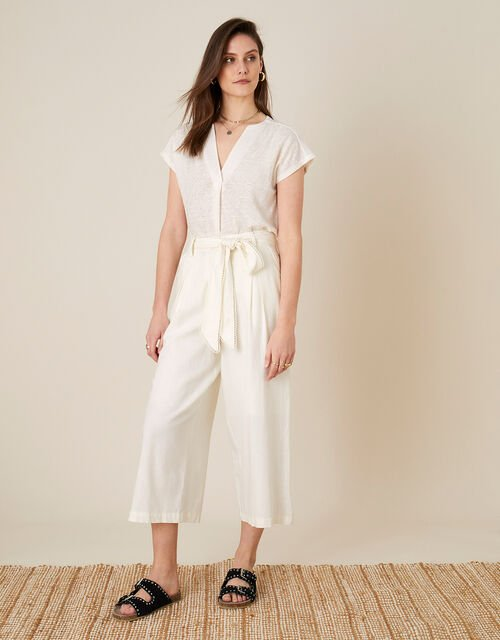 Scallop Crop Trousers in Linen Blend , White (WHITE), large