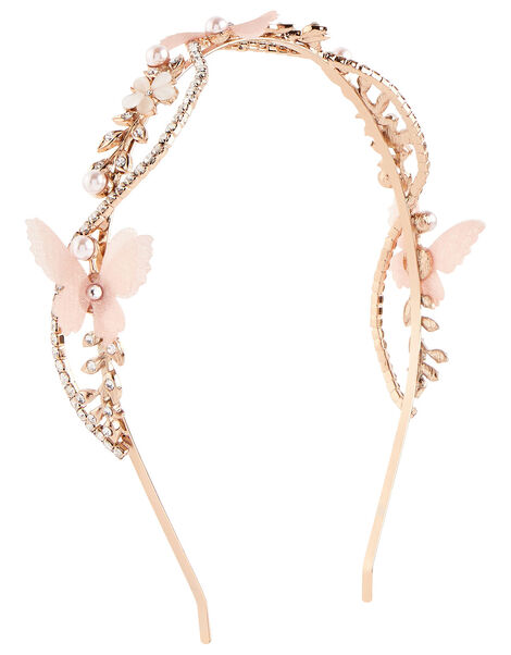 Diamante Butterfly Twist Headband, , large