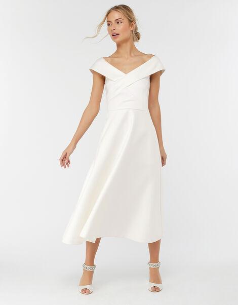 Grace Bardot Midi Bridal Dress Ivory, Ivory (IVORY), large