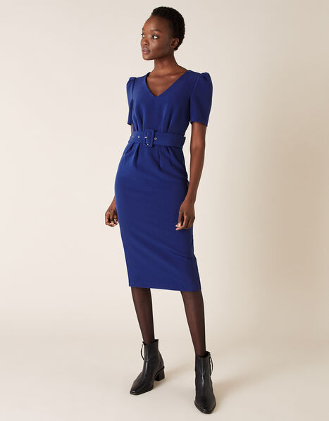 Stephanie Belted Shift Dress Blue, Blue (COBALT), large