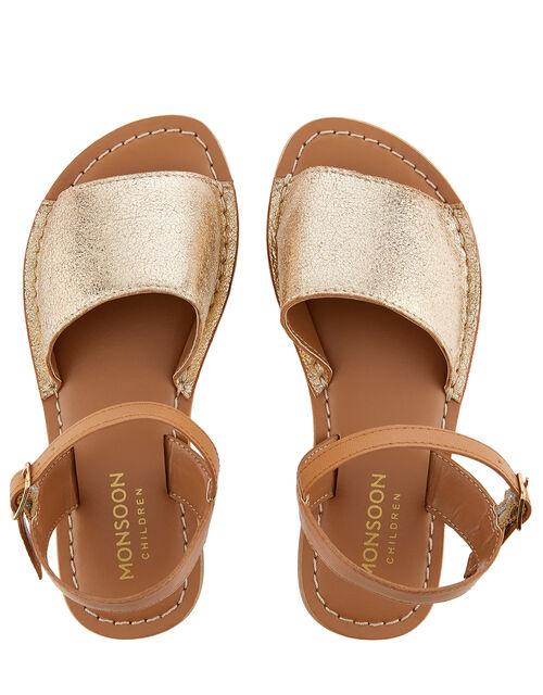 Zeta Peep-Toe Leather Sandals , Gold (GOLD), large
