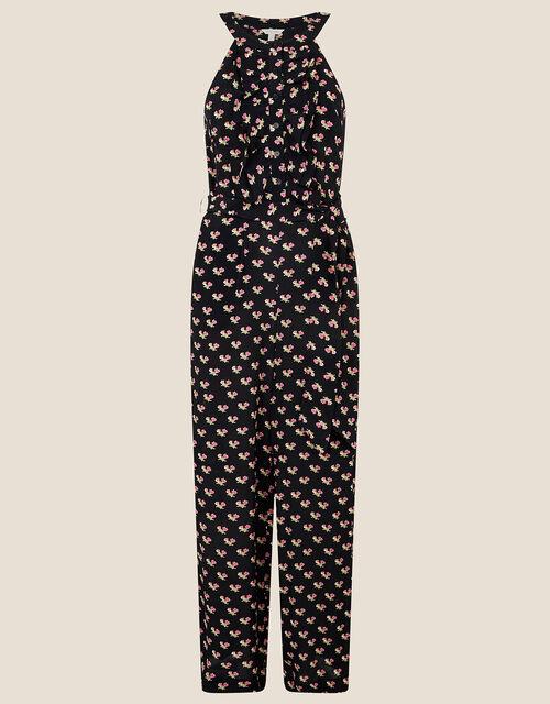 Floral Print Wide Leg Jumpsuit, Black (BLACK), large