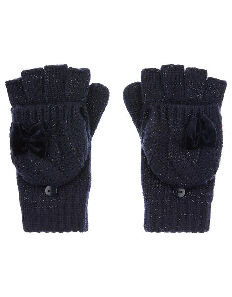 Sparkle Bow Capped Gloves with Recycled Fabric Blue, Blue (NAVY), large