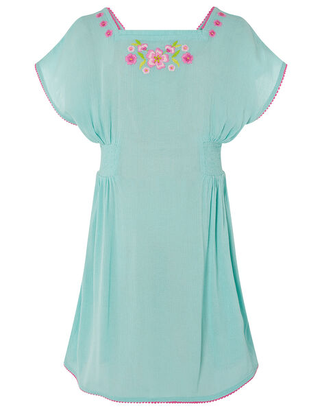 Floral Embroidered Kaftan Dress Blue, Blue (TURQUOISE), large