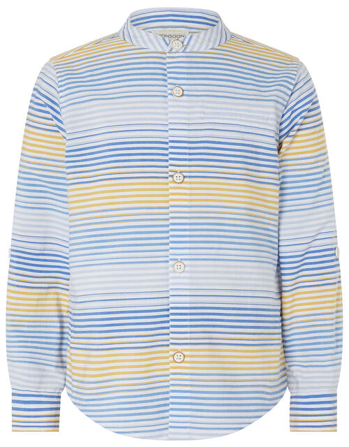 Tiko Striped Cotton Shirt, Blue (BLUE), large
