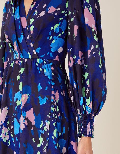 Anita Animal Print Wrap Dress Blue, Blue (NAVY), large
