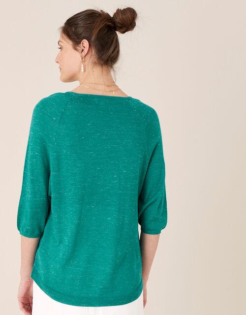Gathered Sleeve Jumper in Linen Blend, Teal (TEAL), large