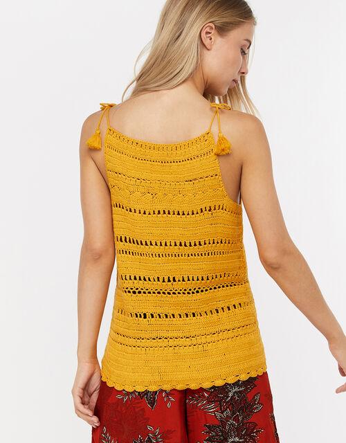 Cora Crochet Vest Top, Yellow, large