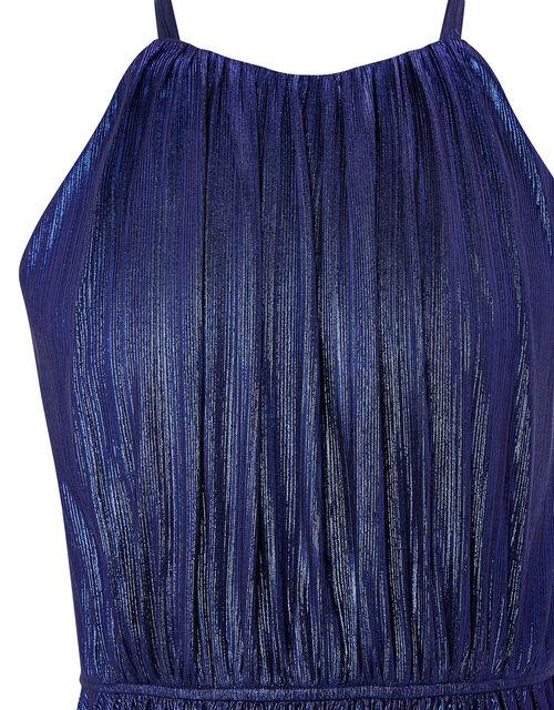 Halterneck Metallic Pleated Prom Dress, Purple (PURPLE), large