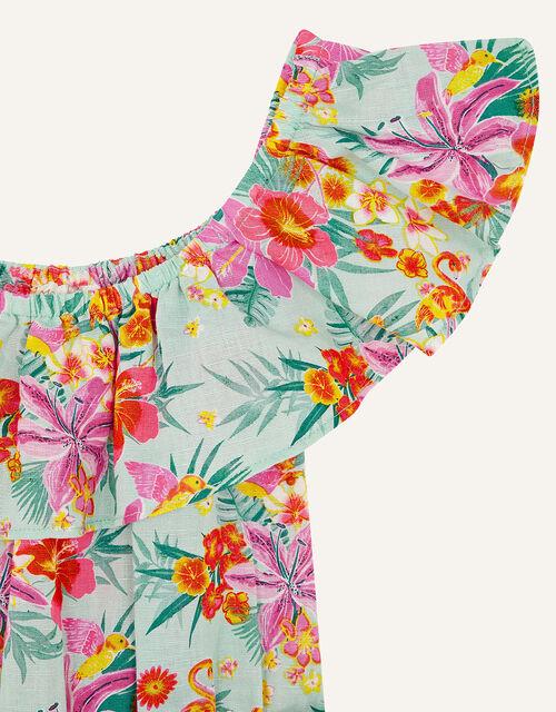 Tropical Flamingo Playsuit in Linen Blend, Blue (AQUA), large