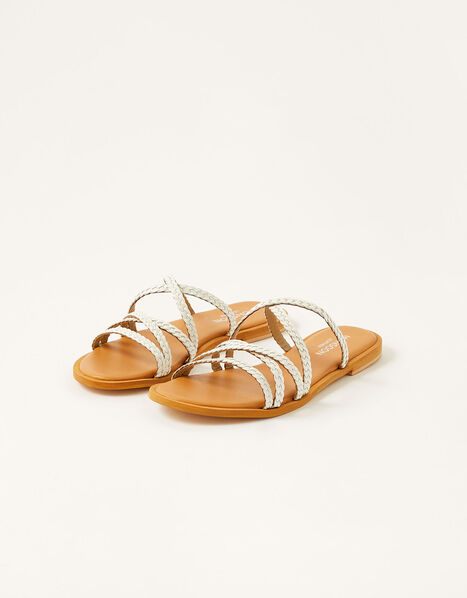 Pixie Plaited Leather Sandals White, White (WHITE), large