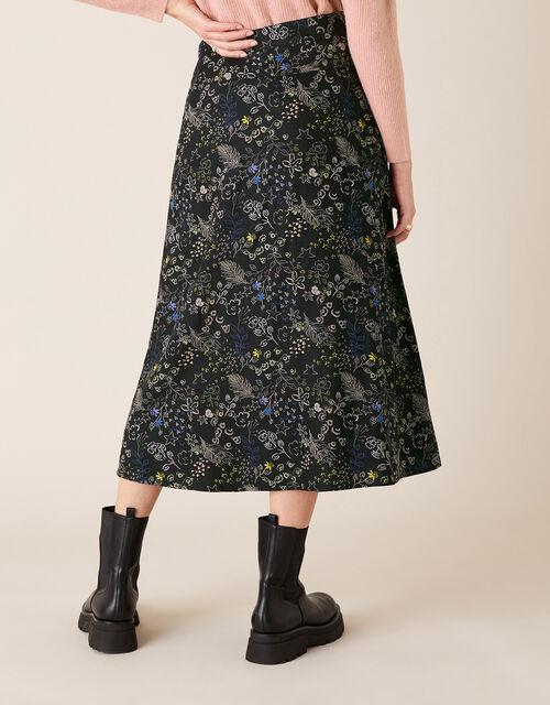 Printed Midi Skirt, Black (BLACK), large