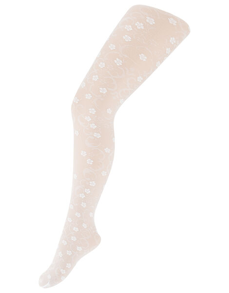 Flower Lacey Tights White, White (WHITE), large