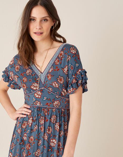 Etty Floral Jersey Maxi Dress Blue, Blue (NAVY), large