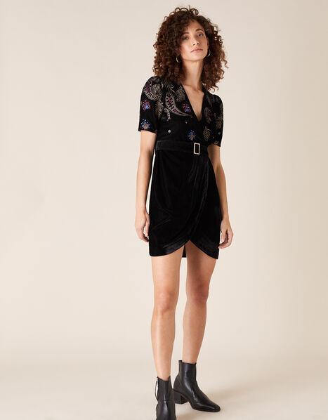 Patrice Paisley Embroidered Velvet Dress Black, Black (BLACK), large