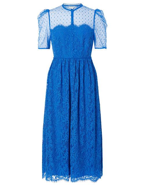 Trisha Embroidered Lace Midi Dress, Blue (BLUE), large