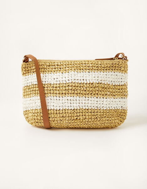 Sally Stripe Straw Cross-Body Bag , , large