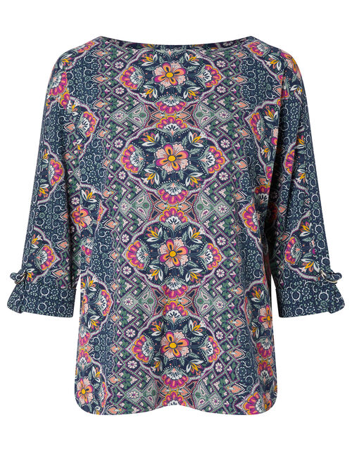 Ma/'s Top in Natural Blue Floral Linen