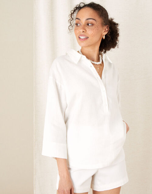 Plain Shirt in Pure Linen, White (WHITE), large