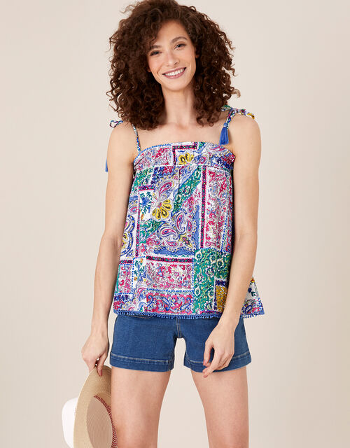 Scarf Print Cami Top in LENZING™ ECOVERO™, Blue (BLUE), large