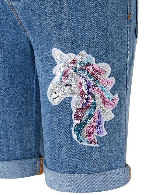 Elouise Sequin Unicorn Denim Shorts, Blue (BLUE), large