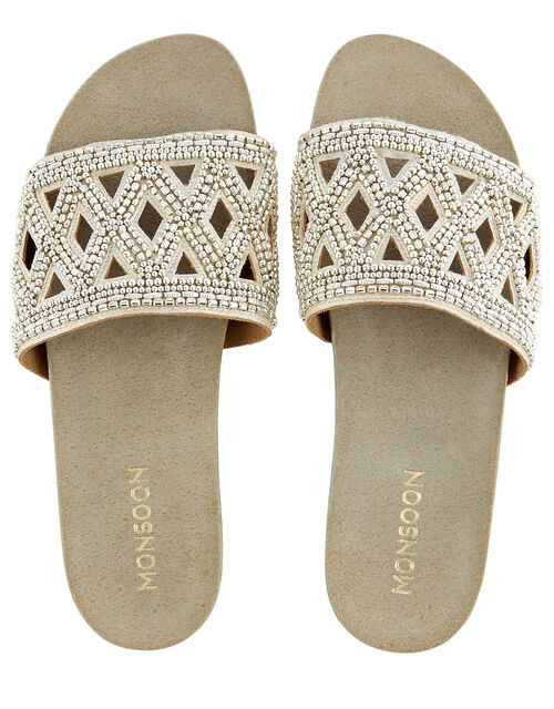 Beaded Slider Sandals, Gold (GOLD), large
