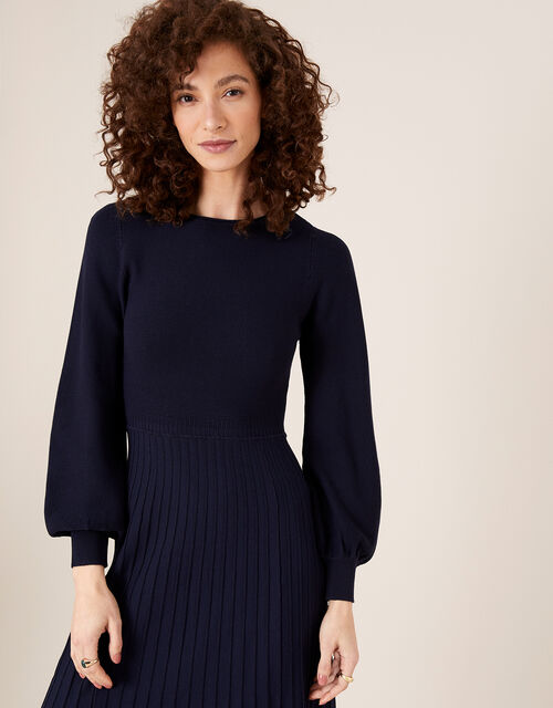 Pleated Knit Dress with LENZING™ ECOVERO™, Blue (NAVY), large