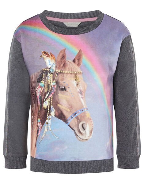Sequin Horse Rainbow Sweatshirt Grey, Grey (CHARCOAL), large