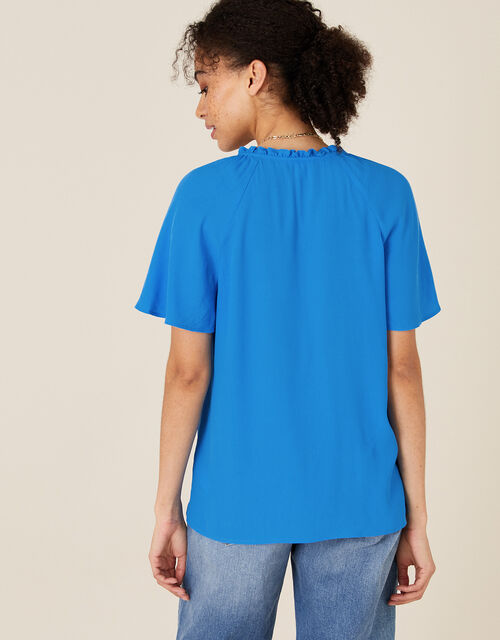 Tie Neck Short Sleeve Blouse, Blue (BLUE), large