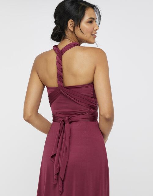 Tallulah Twist Me Tie Me Jersey Bridesmaid Dress, Red (BURGUNDY), large