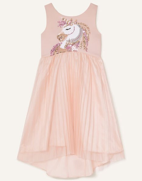 Mia Sequin Unicorn Pleated Dress Pink, Pink (PINK), large
